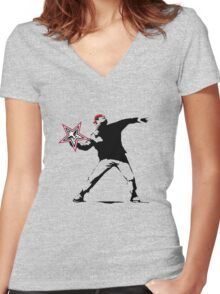 OBEY banksy! Women's Fitted V-Neck T-Shirt