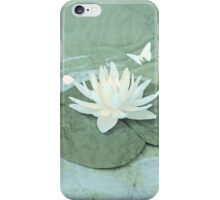 Lotus and Butterflies on Turquoise Water iPhone Case/Skin