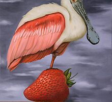 Spoonbill On A Strawberry by LeahSaulnier