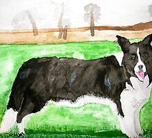 My Border Collie, Jess. In water-colour by DaveLewis80