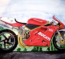 Ducati 996. Wter-colour. I gave this to my dad as a Christmas Present. by DaveLewis80