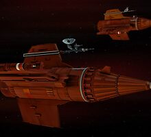 Blake's 7 federation pursuit ships on course by Ulysses3D