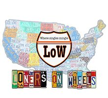 Loners on Wheels License Plate Map by designturnpike