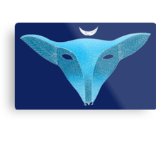 Blue fox mask with moon Metal Print