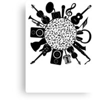Music Notes  Instrument Collage Canvas Print