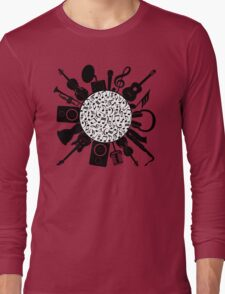 Music Notes  Instrument Collage Long Sleeve T-Shirt