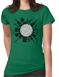 Music Notes  Instrument Collage Womens Fitted T-Shirt