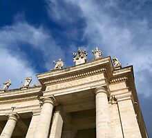 Colonnade on St Peters Square in Rome by BRENDA KEAN