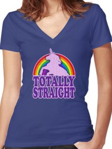 Funny - Totally Straight (vintage distressed look) Women's Fitted V-Neck T-Shirt