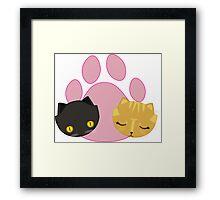 Tabby and Black Cat heads Framed Print