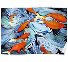 Fire Water Abstract Poster