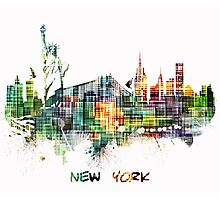 New York City skyline colored cube Photographic Print