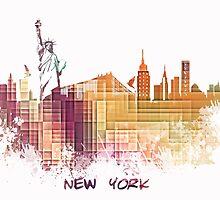 New York City skyline yellow cube by JBJart
