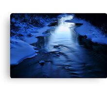Icy winter blue river Canvas Print