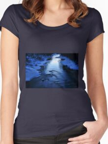 Icy winter blue river Women's Fitted Scoop T-Shirt