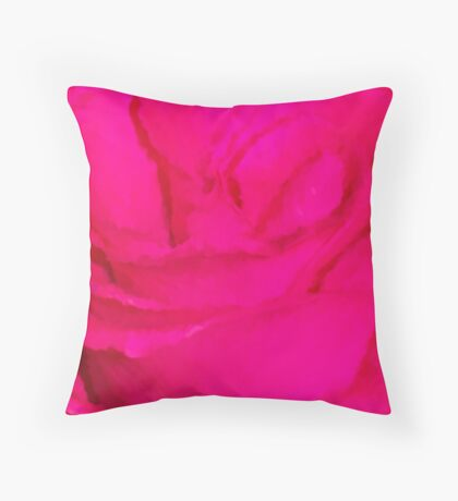 Hot Pink Rose Impression Throw Pillow