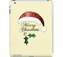 Merry Christmas Santa hat with red, gold and green sparkles iPad Case/Skin