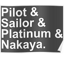 Fountain Pens - Japanese Brands - Pilot, Sailor, Platinum, Nakaya Poster