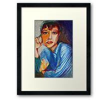Carmel - Portrait Of A Woman In A Blue Dress Framed Print