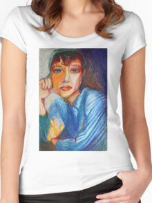 Carmel - Portrait Of A Woman In A Blue Dress Women's Fitted Scoop T-Shirt