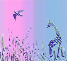 Giraffe and Bird - Panoramic by fuxart
