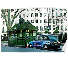 London Cab and Hut Poster