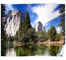 Merced River And Cathedral Rocks Poster