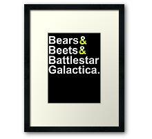 Beets Bears Battlestar Galactica Framed Print