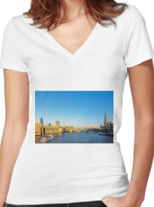 Thames Riverscape, London England Women's Fitted V-Neck T-Shirt
