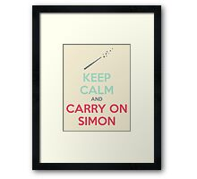 Keep Calm and Carry On Simon—Multi-Color Text Framed Print