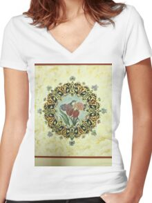"""""""The Tulip & The Bird"""" Miniatures Women's Fitted V-Neck T-Shirt"""