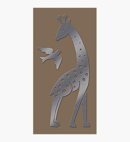 Giraffe and bird - perforated sheet design Photographic Print