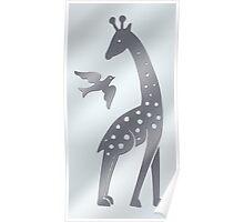 Giraffe and bird - perforated sheet design Poster