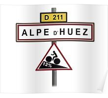 Alpe D'Huez Cycling Gradient Road Signs  Poster