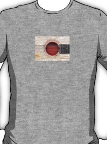 Old Vintage Acoustic Guitar with Japanese Flag T-Shirt