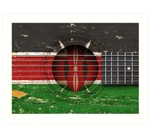 Old Vintage Acoustic Guitar with Kenyan Flag Art Print