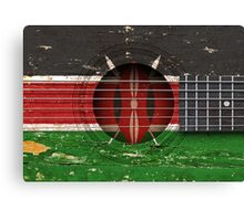 Old Vintage Acoustic Guitar with Kenyan Flag Canvas Print