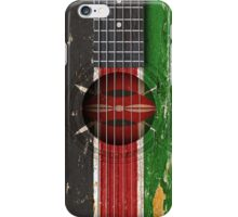 Old Vintage Acoustic Guitar with Kenyan Flag iPhone Case/Skin