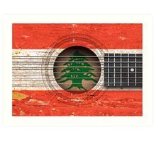 Old Vintage Acoustic Guitar with Lebanese Flag Art Print