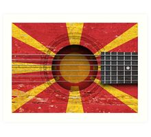 Old Vintage Acoustic Guitar with Macedonian Flag Art Print