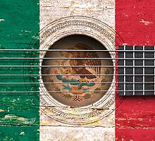 Old Vintage Acoustic Guitar with Mexican Flag by Jeff Bartels
