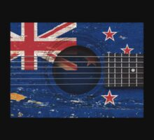 Old Vintage Acoustic Guitar with New Zealand Flag Baby Tee