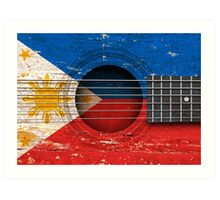 Old Vintage Acoustic Guitar with Filipino Flag Art Print