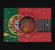 Old Vintage Acoustic Guitar with Portuguese Flag Kids Clothes