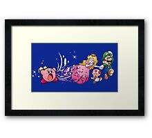 Kirby with the Mario Gang Framed Print