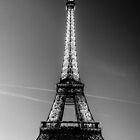 Eiffel Tower and sunset (Black and White) by Mathieu Longvert
