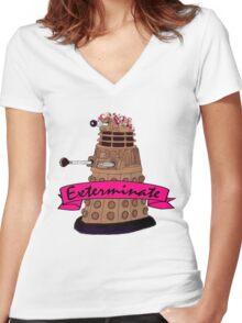 Hipster Dalek. Women's Fitted V-Neck T-Shirt