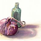 Gourd Shaped Vase and Red Onion by ssalt