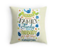 Lilo and Stitch Ohana Typography Quote Throw Pillow