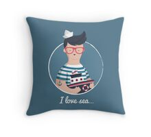 I love sea Throw Pillow